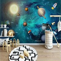 Wholesale cartoon wall painting bedroom for sale - Group buy custom photo wallpaper high quality non woven Nordic simple cartoon painting space universe children room background wall