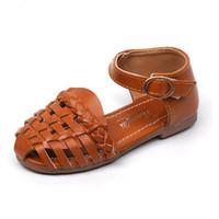 mädchen böhmische sandalen großhandel-2019 Kinder gestrickte Hollow-outs Sandalen Größe 21-35 Baby Kleinkind Mädchen Sommer Strand Schuhe böhmischen Stil Mädchen Sandalen