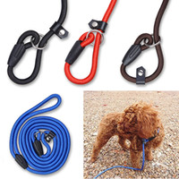 Wholesale red dog collar light online - Pet Dog Nylon Adjustable Collar Training Loop Slip Leash Rope Lead Small Size Red Blue Black Color