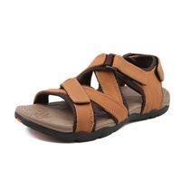 кроссовки сандалии мужчина оптовых- Summer Beach mens sandals Brown Black Comfortable Man Fashion Walking Sneakers Leather Outdoor Male Casual Sandals