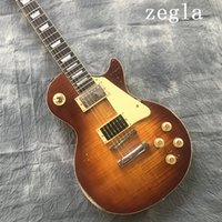 Wholesale Guitar - Flame Maple Top Jimmy Page Vintage Sunburst Relic Electric Guitar, One PC Neck & Body, ABR-1 Bridge, Seymour Duncan PU, Gold Grover Tuners