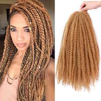 kanekalon tresses afro crépus achat en gros de-Afro Kinky Marley Tressage Cheveux Kanekalon Synthétique Twist Cheveux Bouclés Marley Tresses Twist Crochet Tressage Cheveux