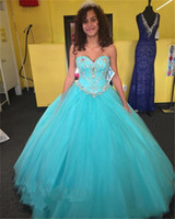 ingrosso modelli di vestiti quinceanera-Abiti Quinceanera Graceful Ball Gown Sweetheart Tulle Flower Pattern Sleeveless Sweet 16 Ragazze Occasioni Formale Evening Prom Dress A98