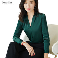 a50289aafac3be New Fabric High-quality V-neck Shirt For Women Blouse Elegant Tops Female  Long Sleeve Office Lady Work Wear T3190603