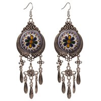 люстры капли оптовых-4 Colors Bohemian Ethnic Tribal Large Drop Dangle Chandelier Earrings for Women New Vintage  Jewelry