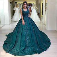 Wholesale aqua backless prom dress for sale - Group buy Aqua Teal Beaded Lace Evening Dresses Formal Ball Gown Spaghetti Strap Appliques Sequins Ruched Long Celebrity Prom Quinceanera Gowns BC3038