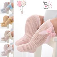 Wholesale princess socks for girls for sale - Group buy Cute Bow Girls Socks For Baby Long Summer Mesh Socks Cotton Blends Infant Newborn Socks Toddler Princess Girls Knee High