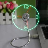 mini display luzes venda por atacado-Fan Gadget Mini Flexível LED Luz USB Fan Clock Relógio de Mesa Fresco Gadget Tempo de Exibição Para Notebook Laptop Flexível