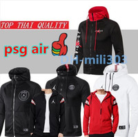 kapüşonlu eşofman toptan satış-2019 2020 Jordam X PSG futbol ceket eşofman Survetement 18 19 20 Paris MBAPPE spor hava jordam futbol ceket Kapüşonlu eşofman
