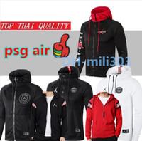 ingrosso tute sportive con cappuccio-2019 2020 Jordam X PSG tuta da calcio giacca Survetement 18 19 20 Paris MBAPPE sportswear air jordam giacca da calcio tuta con cappuccio