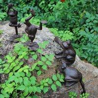 ingrosso animali da giardino in metallo-Set di 4 rane in ghisa casa giardino prato statua in metallo artigianato marrone animale bella decorazione Cottage fattoria giardinaggio figurine ornamento
