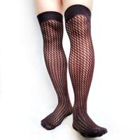 kaliteli uzun çoraplar toptan satış-Erkekler için Diz Üzerinde Çorap Pamuk Moda Çorap Uzun Çorap Seksi Fetiş Koleksiyonu See Through Yüksek Kalite Erkek Eşcinsel Hortum çorap