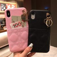 coque arrière iphone rose achat en gros de-cuir de marque femmes rose rouge violet noir avec étui de téléphone à carte pour iPhone 6 6s 7 8 8plus XR X coque de protection arrière pour iphone x xr 7plus