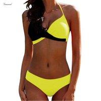 biquíni amarelo do sutiã venda por atacado-Bra Bikinis Mulher Halter Banhistas Swimsuit Push Up Plus Size Swimwear Mulheres Sexy Yellow Micro Bikini maiô Xxl