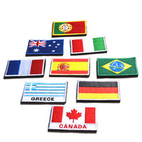 Wholesale spain clothing resale online - Clothes Backpacks Hats Handmade Country Flag Sewing Russia Spain France UK Personality Embroidery Design Hook Loop Patches