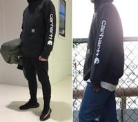 camisolas oversize venda por atacado-Kanye West Hoodies Homens Carhar Oversize Designer Hiphop Rua Moletom Com Capuz Camisolas de Manga Comprida