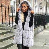 amerikan kürk yanaşığı toptan satış-Sıcak stil sonbahar / kış 2019 yeni Avrupa ve Amerikan kapşonlu faux fur yelek coat
