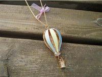 globos de aire largos al por mayor-Moda colorido aire caliente fuego globo colgante collar largo encanto suéter cadena TO127