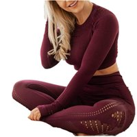 survêtements en polyester pour femmes achat en gros de-Womens Yoga Tenues creux Jelly Couleur Lift Tour de hanches Sport Leggings Fitness Crop Top sans couture Grms Survêtements ensembles de vêtements 60FL E19