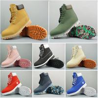 botas de nieve de moda para mujer al por mayor-Timberland original diseñador de moda para hombre mujer botas de invierno Chestnut Triple Black para mujer trabajo Martin botas de combate de nieve botín 36-45