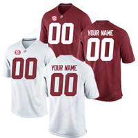 camiseta de fútbol en blanco al por mayor-Personalizado En blanco Alabama Crimson Tide Fútbol Jersey Hombres Mujeres Joven Juvenil talla S a 4XL 5XL Trey Sanders Tagovailoa Jeudy