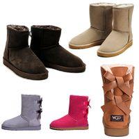 ayak bileği çizme kadınlar düşük topuklu toptan satış-2019 Moda Marka WGG Lüks kadın çizmeler ayak bileği avustralya çizmeler yüksek topuk düşük kestane lacivert siyah kız tasarımcı çizmeler Boyutu ABD 5-10