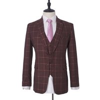 свадебное платье оптовых-Hot sale Dinner Suit wine red Wedding suit woolblend Blazer Single Breasted Plaid Groom Tuxedos 3psc Formal Suits