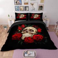 ingrosso skull bedding-Regalo gratuito di trasporto Gotico Cool Skull Rose Flower Stampa Home Dorm Bedding Set Copripiumino + Federa EU Twin USA King Full Queen