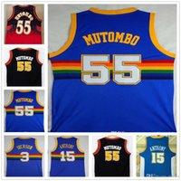 camisas de basquete azul venda por atacado-NCAA boa qualidade 55 Dikembe Mutombo Jerseys 15 Carmelo Anthony 3 Allen Iverson Blue College Dikembe Mutombo Basketball Jerseys Filme