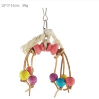 Wholesale rope bird toys resale online - 1 Parrot bird toy cm Size hook rope Colored wood beads toy Bird play bite toys cage accessories Supplies toys