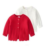 ingrosso maglioni bianche-Maglione per bambini INS neonato per bambino Maglione per cardigan con bottoni Bianco Colore 100% Cotone Boutique Scava fuori ragazza maglione primavera autunno