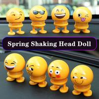 ingrosso i giocattoli che scuotono la testa-Cute Car Shaking Head Toys Auto Interni Ornamenti Accessori Emoji Shaker Auto Decori Primavera Scuotendo la testa bambola decorazione giocattolo HHA62