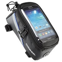 cep çantası bisikleti toptan satış-ROSWHEEL BİSİKLET ÇANTALARI BİSİKLET ÇERÇEVE ÇERÇEVE IPHONE ÇANTA TUTUCU PANNIER MOBİL TELEFON ÇANTA CASE POUCH