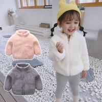 çocuklar polar kış giyim toptan satış-Çocuklar Sherpa Kazak Palto Erkekler Kızlar Kış Fermuar Ceket Bebek Hoodie Triko Berber Fleece Sweatshirt Outwear Giyim C92704 Isınma Güz