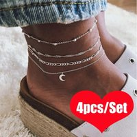 Wholesale jewelry for sale - 4 ladies anklets Summer Beach moon shaped charm Anklets For Women Ankle Bracelet women sandals On the Leg Chain Foot Jewelry