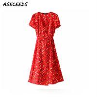 ingrosso abito coreano bohemien-Bohemian Vintage Red Summer Dress Women V Neck Casual Sexy Chiffon Beach Party Dress Floral Print Wrap Dress Moda coreana Y19051102