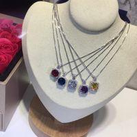 créateurs de bijoux de pierre gemme achat en gros de-Les femmes célibataires colliers de pierres précieuses femmes matériel d'argent tempérament charme bijoux design colliers fille de mode simple,