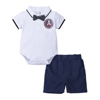 Wholesale oxford style jackets for sale - Group buy Baby Kids Boys Gentleman Suits Polo Collar Bow Tie Rompers Tatting Cotton Jumpsuits with Solid Pants pieces Casual Children Clothing Set