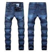 hip hop sısılı toptan satış-Erkekler Sıkıntılı Ripped Skinny Jeans Moda Tasarımcısı Erkek Jeans İnce Motosiklet Moto Biker Nedensel Erkek Denim Pantolon Hip Hop Erkekler Jeans