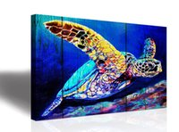 Wholesale ocean oil paint resale online - Single blue green sea turtle Home Wall Art Decor Ocean Theme Mediterranean Style Canvas Prints Framed and Stretched Ready to Hang Sea Anim