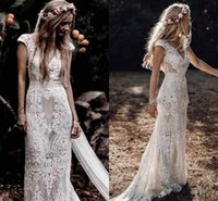 Wholesale cotton wedding dress train resale online - Vintage Bohemian Wedding Dresses with Sleeves Hppie Crochet Cotton Lace Boho Country mermaid Bridal Wedding Gown