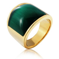 Wholesale titanium rings for sale - designer jewelry tianium steel rings opal large gold color band rings for men hot fashion free of shipping