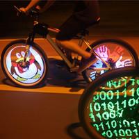 programmierbare led-bildschirme großhandel-YQ8003 DIY Fahrrad Licht Programmierbare Fahrrad Sprach Fahrrad Rad LED-Licht Doppelseitige Bildschirmanzeige Bild Für Nacht Radfahren