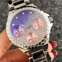 ingrosso cristalli rosa-Fashion Ladies pink diamond watch Top orologi di marca da donna Designer quadrante di cristallo quadrante Orologio con cinturino in oro rosa Orologio top in acciaio inossidabile