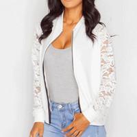 calças de renda branca mais tamanho venda por atacado-Brasão Lace Casual Jacket Mulheres Splice apertado manga comprida preta Thin White Moda Feminina Sexy Magro Zipper Plus Size Coats Feminino