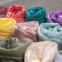 Wholesale thin hijab scarves for sale - Group buy 2019 Women Fashion Plain Pearl Silk Linen Shawl Scarf Summer Sheer Thin Soft Muslim Headband Kerchief Wrap Hijab Echarpe Snood