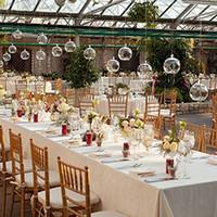 tealight cam mumluklar toptan satış-24 Temizle Cam Küreler Teraryum Asılı Cam Mumluklar 8 CM Çay Işık Tutucular Etli Bahçe veya Düğün Decorati Için Kullanın
