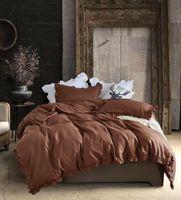 cama de chocolate venda por atacado-Chocolate Estilo Americano Beddingset Queen King Size Beddingset Folha 3 PCS (1 Capa de Edredão + 2 Fronhas) Têxteis Para o Lar Conjuntos de Cama Consolador