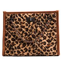 große leopardkette großhandel-Gute qualität Marke Mode Big Bag Frau Design 2019 Große kapazität Leopard Schulter Messenger Bags Modis Kette Weibliche Handtasche