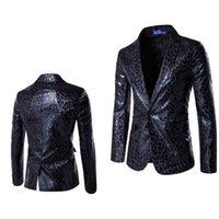 terno de impressão leopardo para homens venda por atacado-Estilo europeu e americano personalidade moda um botão terno leopardo terno groomsman vestido dos homens jaqueta